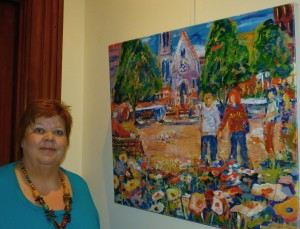 me with cathedral square giclee on canvas