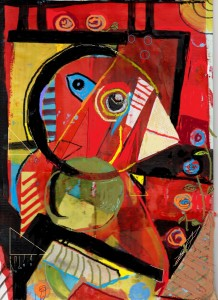 Syd the Bird - mixed media on board - original 300mm x 200mm (8in x 10in) -